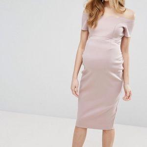 NWT ASOS Maternity Dress Midi Pencil Blush US 2